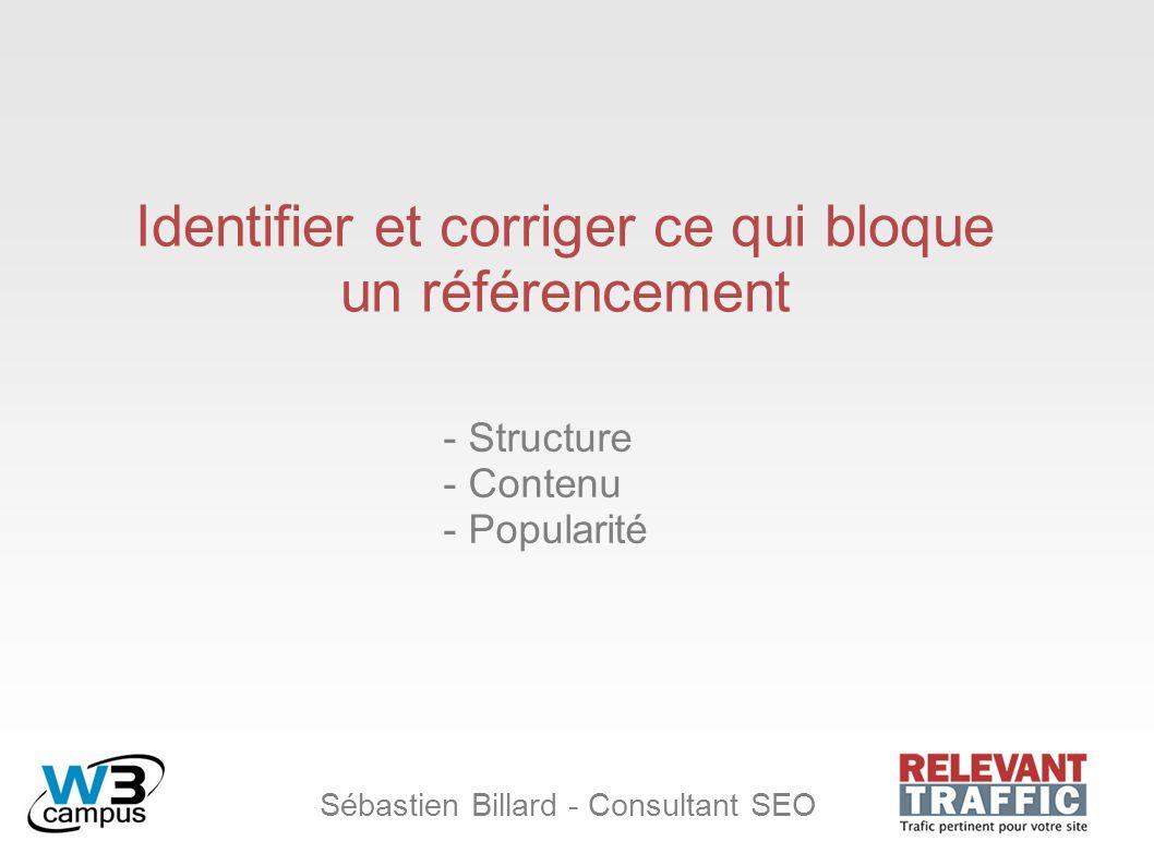 Sébastien Billard - Consultant SEO Identifier et corriger ce qui bloque un référencement - Structure - Contenu - Popularité