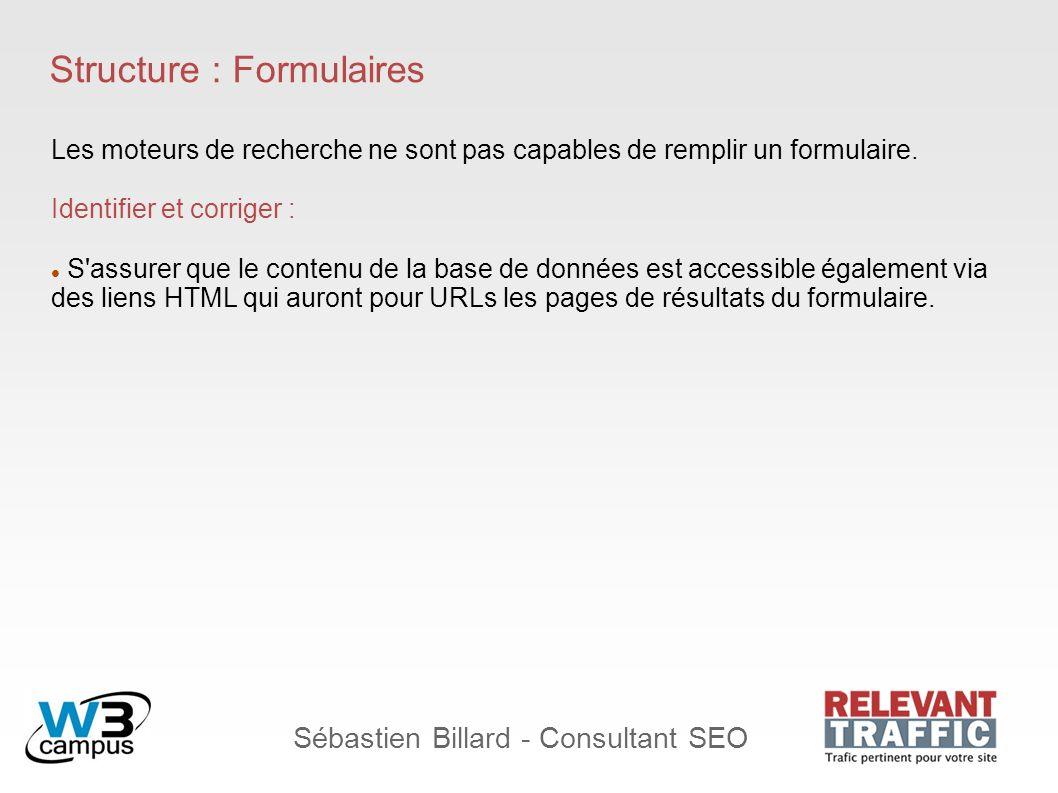 Sébastien Billard - Consultant SEO Structure : Formulaires Les moteurs de recherche ne sont pas capables de remplir un formulaire. Identifier et corri