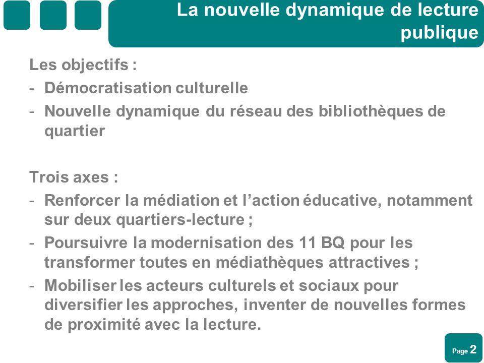 Page 2 La nouvelle dynamique de lecture publique Les objectifs : -Démocratisation culturelle -Nouvelle dynamique du réseau des bibliothèques de quarti
