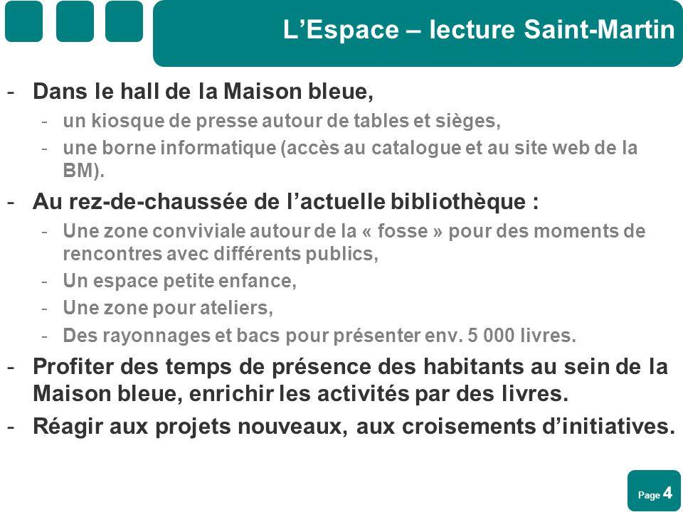 Page 4 LEspace – lecture Saint-Martin -Dans le hall de la Maison bleue, -un kiosque de presse autour de tables et sièges, -une borne informatique (acc