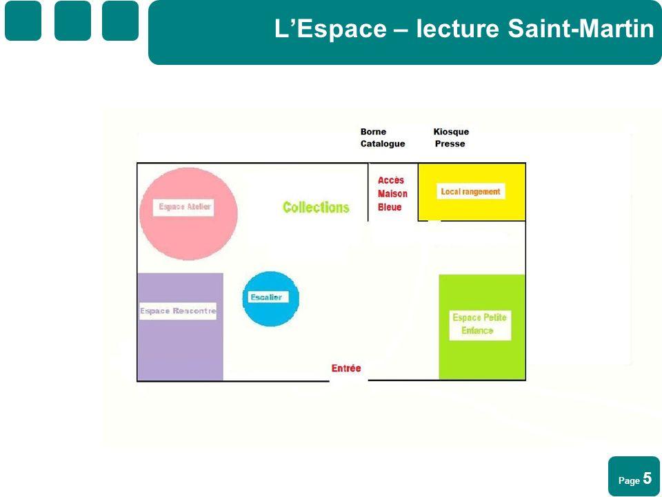 Page 6 LEspace – lecture Saint-Martin Un programme mensuel dactivités sera organisé par la BM, la Maison bleue et des partenaires (une vingtaine dheures) : en cours délaboration pour octobre 2010.