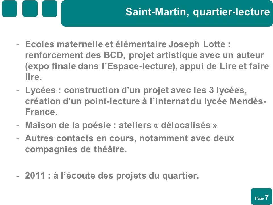 Page 7 Saint-Martin, quartier-lecture -Ecoles maternelle et élémentaire Joseph Lotte : renforcement des BCD, projet artistique avec un auteur (expo fi