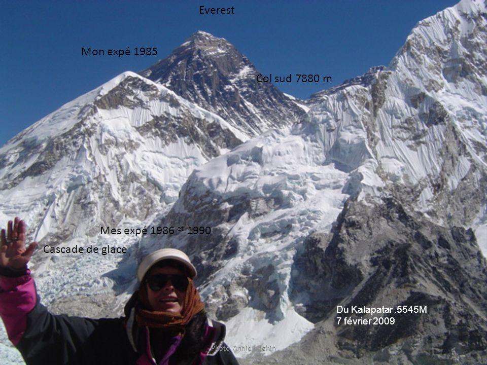 Photo Annie béghin Mon expé 1985 Mes expé 1986 et 1990 Cascade de glace Col sud 7880 m Everest Du Kalapatar.5545M 7 février 2009