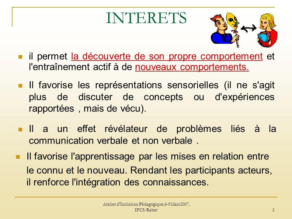 Atelier d'Initiation Pédagogique;6-9Mars2007; IFCS-Rabat 3 INTERETS il permet la découverte de son propre comportement et l'entraînement actif à de no