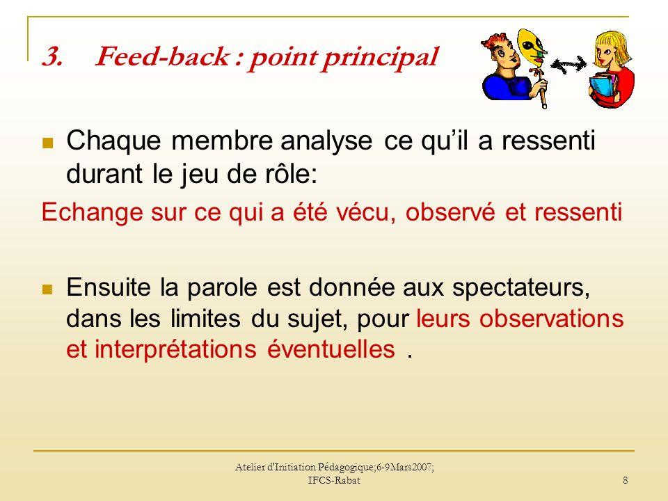 Atelier d'Initiation Pédagogique;6-9Mars2007; IFCS-Rabat 8 3.Feed-back : point principal Chaque membre analyse ce quil a ressenti durant le jeu de rôl