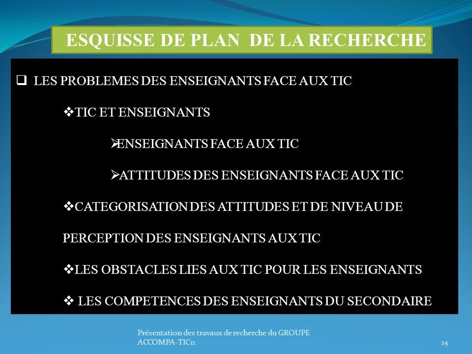 Présentation des travaux de recherche du GROUPE ACCOMPA-TIC1114 ESQUISSE DE PLAN DE LA RECHERCHE LES PROBLEMES DES ENSEIGNANTS FACE AUX TIC TIC ET ENS