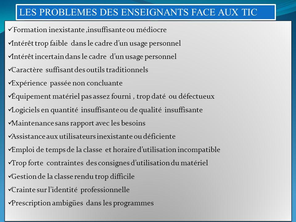 LES PROBLEMES DES ENSEIGNANTS FACE AUX TIC Formation inexistante,insuffisante ou médiocre Intérêt trop faible dans le cadre dun usage personnel Intérê