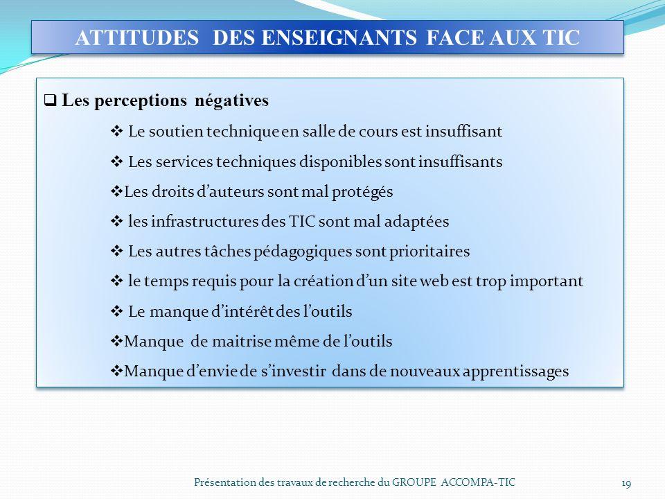 Présentation des travaux de recherche du GROUPE ACCOMPA-TIC 19 ATTITUDES DES ENSEIGNANTS FACE AUX TIC Les perceptions négatives Le soutien technique e