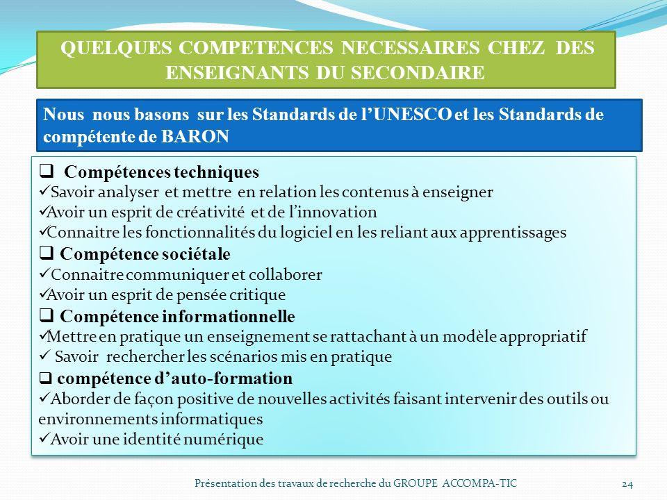 Présentation des travaux de recherche du GROUPE ACCOMPA-TIC 24 QUELQUES COMPETENCES NECESSAIRES CHEZ DES ENSEIGNANTS DU SECONDAIRE Compétences techniq