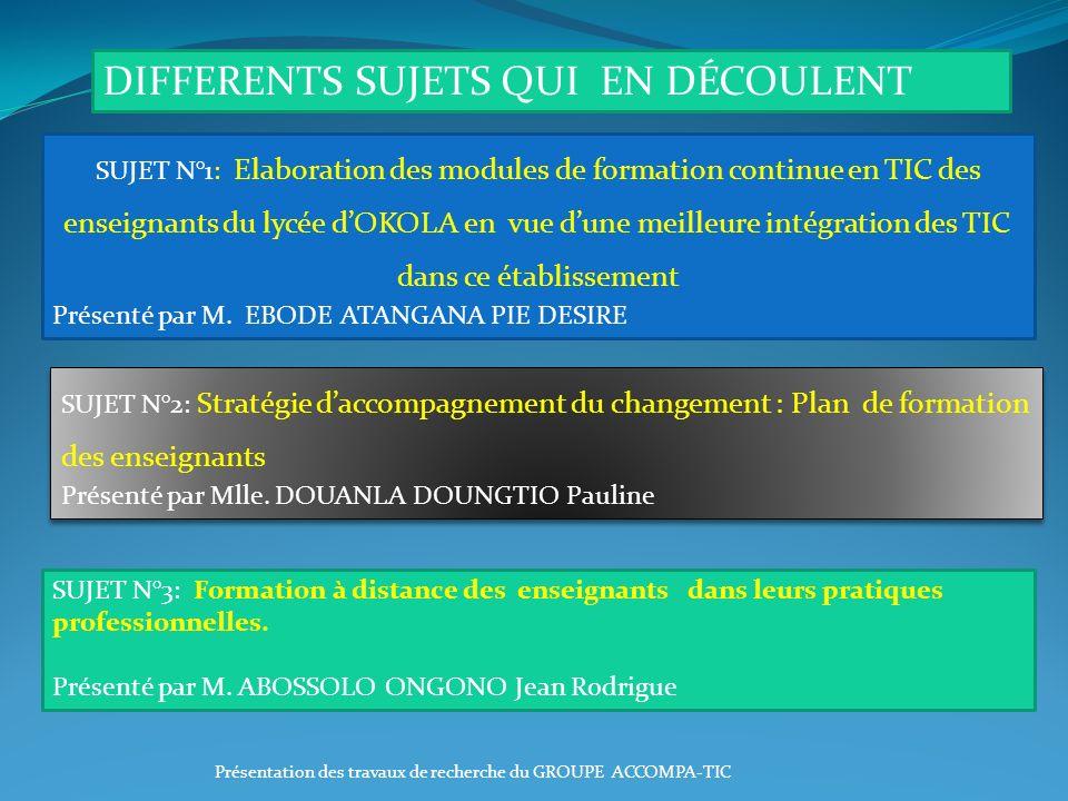 SUJET N°3: Formation à distance des enseignants dans leurs pratiques professionnelles. Présenté par M. ABOSSOLO ONGONO Jean Rodrigue SUJET N°2: Straté