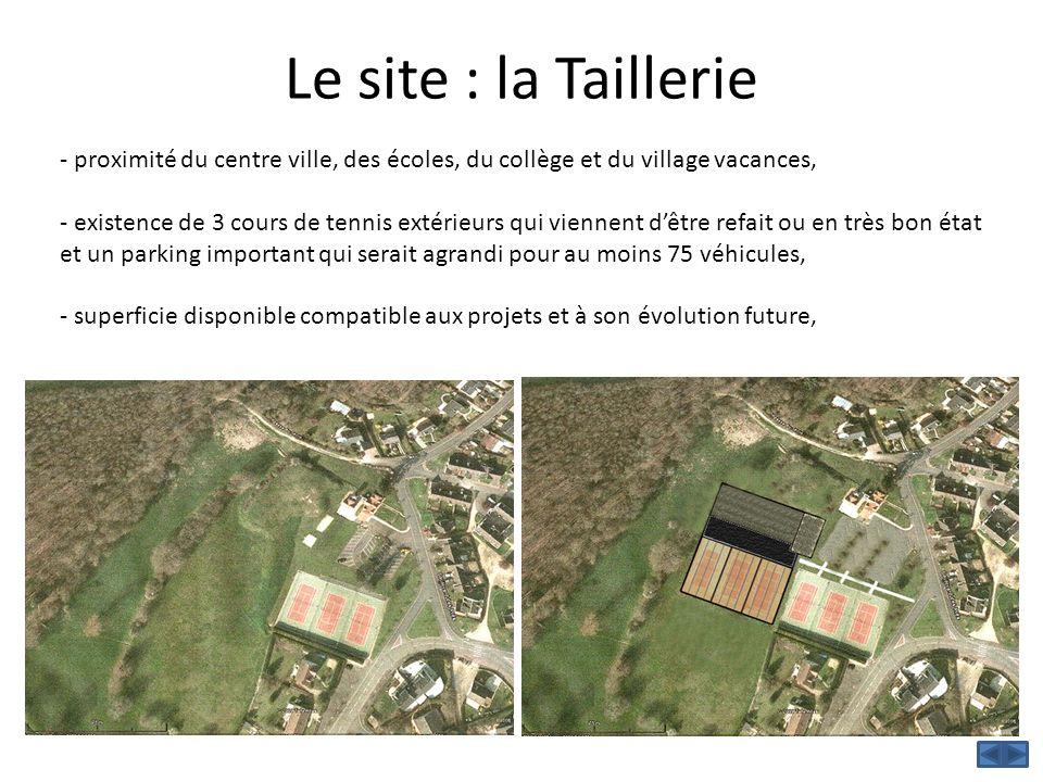 Le site : la Taillerie - proximité du centre ville, des écoles, du collège et du village vacances, - existence de 3 cours de tennis extérieurs qui vie