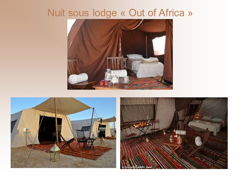 Nuit sous lodge « Out of Africa »