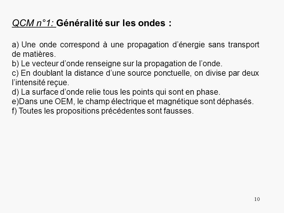 10 QCM n°1: Généralité sur les ondes : a) Une onde correspond à une propagation dénergie sans transport de matières. b) Le vecteur donde renseigne sur
