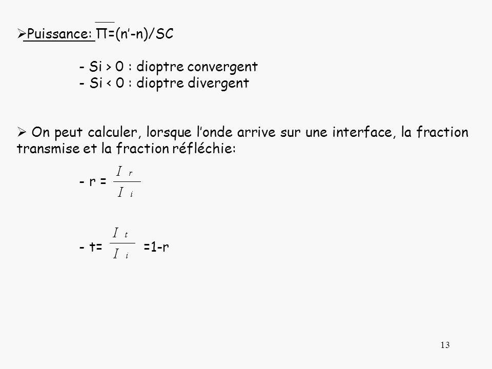 13 Puissance: П=(n-n)/SC - Si > 0 : dioptre convergent -Si < 0 : dioptre divergent On peut calculer, lorsque londe arrive sur une interface, la fracti