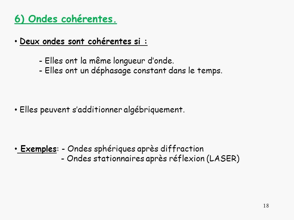 18 6) Ondes cohérentes. Deux ondes sont cohérentes si : - Elles ont la même longueur donde. - Elles ont un déphasage constant dans le temps. Elles peu