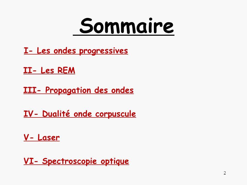 Sommaire I- Les ondes progressives II- Les REM III- Propagation des ondes IV- Dualité onde corpuscule V- Laser VI- Spectroscopie optique 2