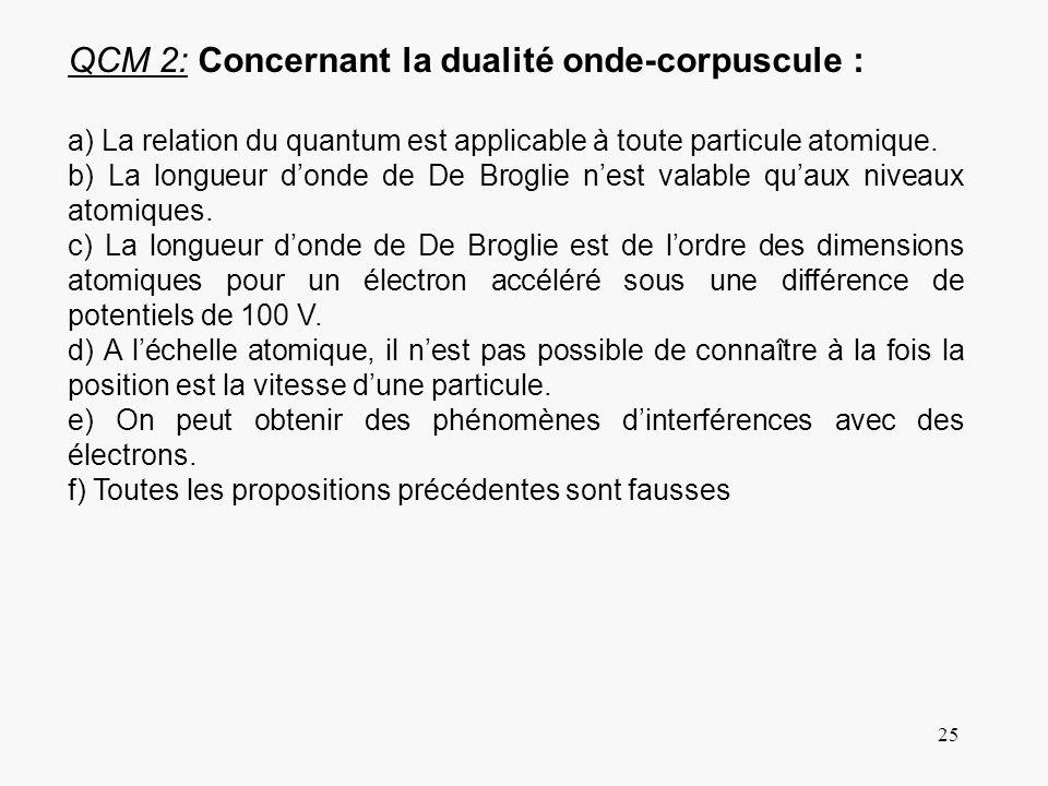 25 QCM 2: Concernant la dualité onde-corpuscule : a) La relation du quantum est applicable à toute particule atomique. b) La longueur donde de De Brog