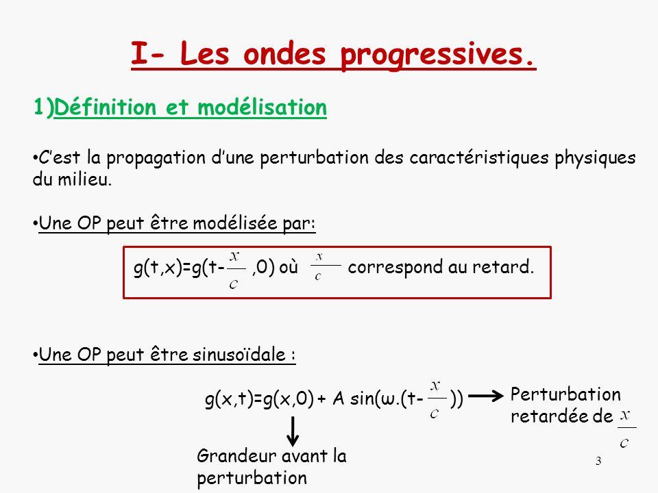 3 I- Les ondes progressives. 1)Définition et modélisation Cest la propagation dune perturbation des caractéristiques physiques du milieu. Une OP peut