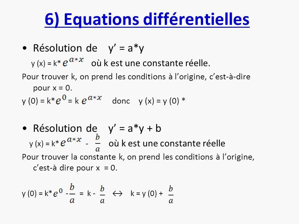 6) Equations différentielles Résolution de y = a*y y (x) = k* où k est une constante réelle. Pour trouver k, on prend les conditions à lorigine, cest-
