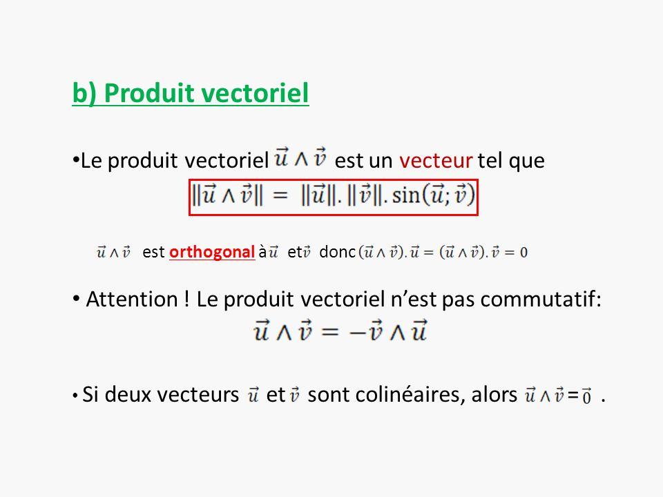 b) Produit vectoriel Le produit vectoriel est un vecteur tel que est orthogonal à et donc Attention ! Le produit vectoriel nest pas commutatif: Si deu