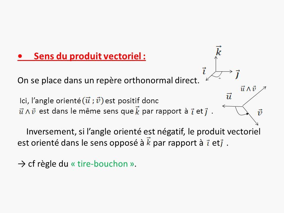 Sens du produit vectoriel : On se place dans un repère orthonormal direct. Ici, langle orienté est positif donc est dans le même sens que par rapport