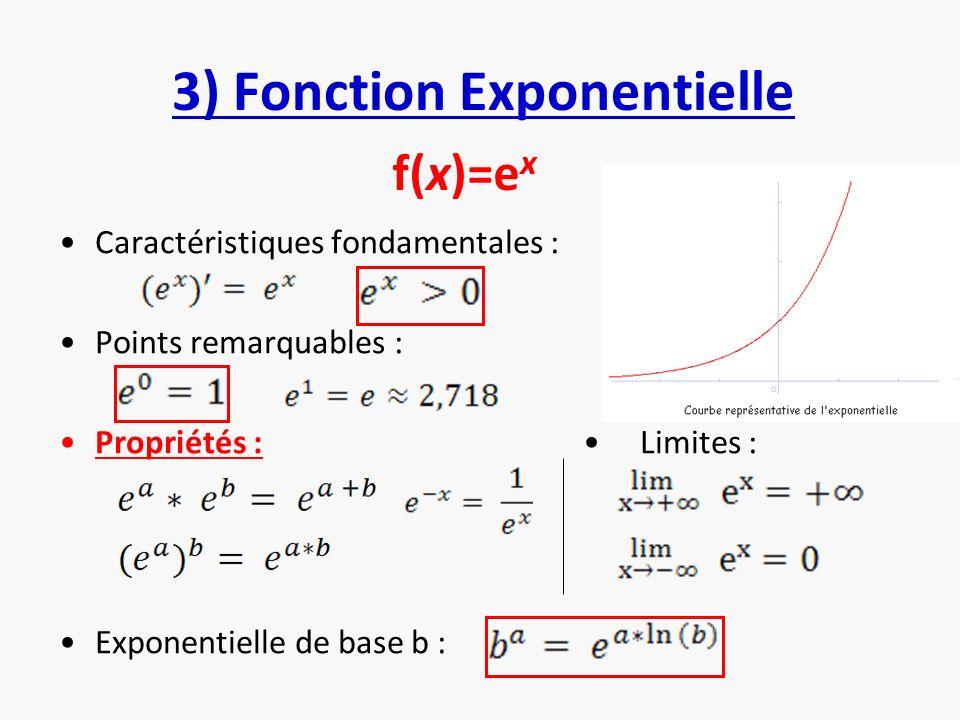 3) Fonction Exponentielle Caractéristiques fondamentales : Points remarquables : Propriétés : Limites : Exponentielle de base b : f(x)=e x