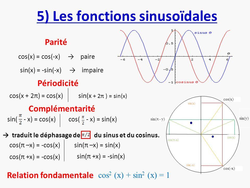 5) Les fonctions sinusoïdales cos(x) = cos(-x) paire sin(x) = -sin(-x) impaire Périodicité Parité cos(x + 2π) = cos(x)sin(x + 2π ) = sin(x) cos( - x)