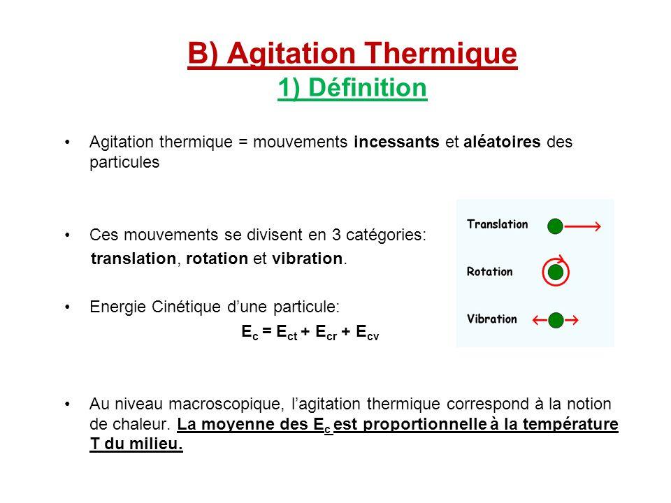 B) Agitation Thermique 1) Définition Agitation thermique = mouvements incessants et aléatoires des particules Ces mouvements se divisent en 3 catégori