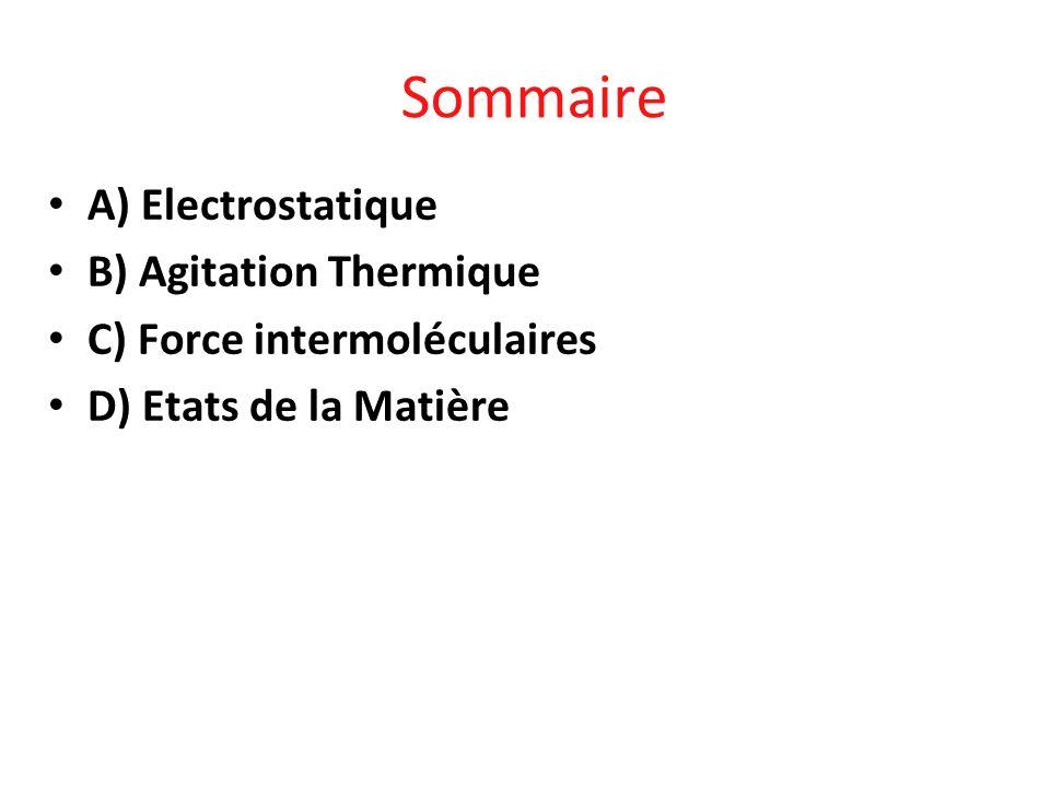 Sommaire A) Electrostatique B) Agitation Thermique C) Force intermoléculaires D) Etats de la Matière