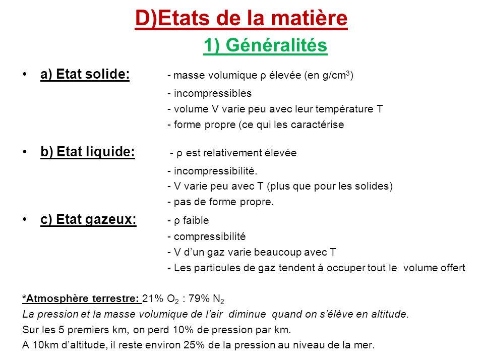 D)Etats de la matière 1) Généralités a) Etat solide: - masse volumique ρ élevée (en g/cm 3 ) - incompressibles - volume V varie peu avec leur températ
