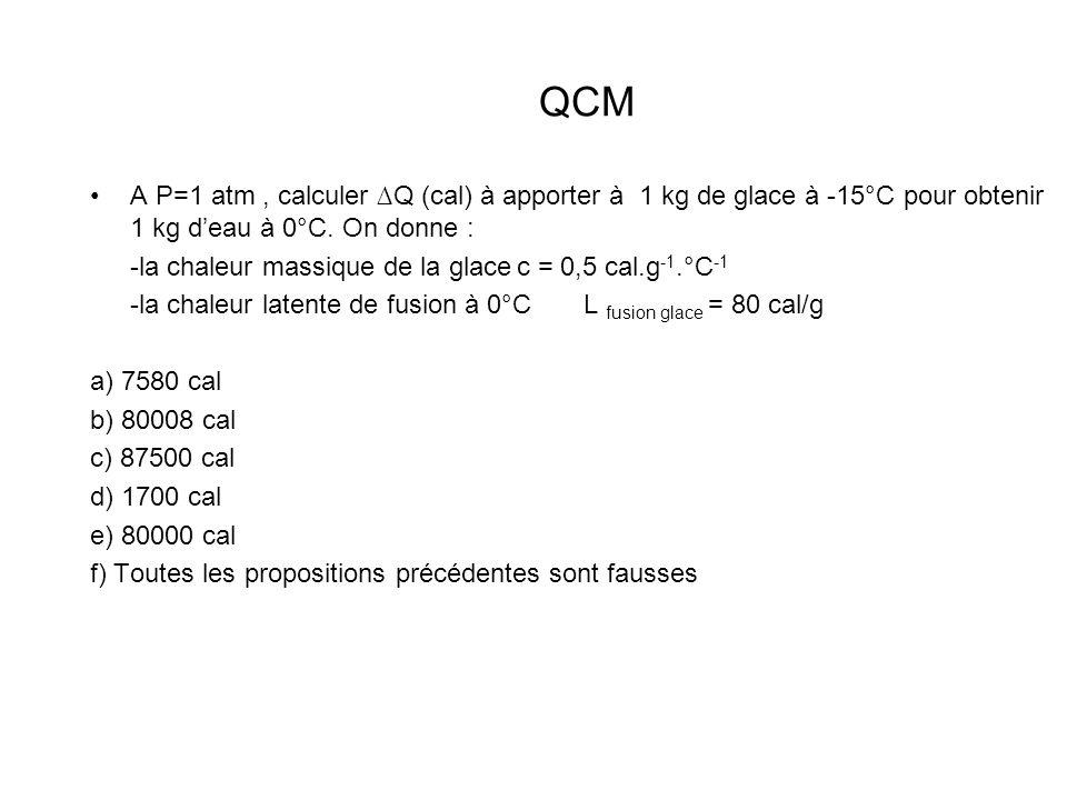 QCM A P=1 atm, calculer Q (cal) à apporter à 1 kg de glace à -15°C pour obtenir 1 kg deau à 0°C. On donne : -la chaleur massique de la glacec = 0,5 ca
