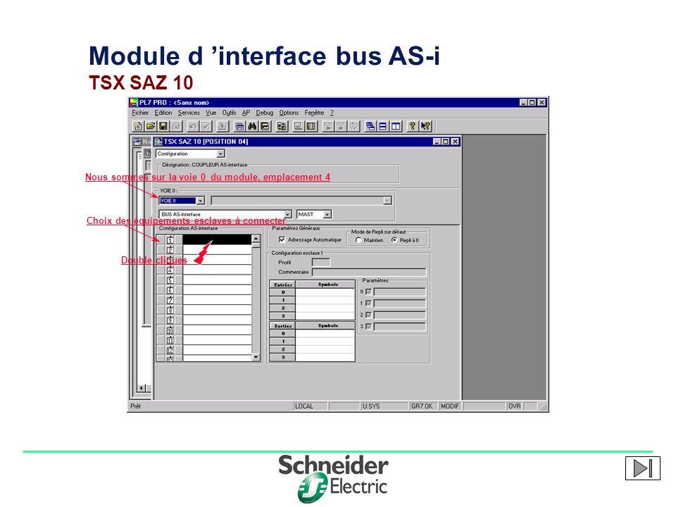 Division - Name - Date - Language 1 Module d interface bus AS-i TSX SAZ 10 Nous sommes sur la voie 0 du module, emplacement 4 Choix des équipements es