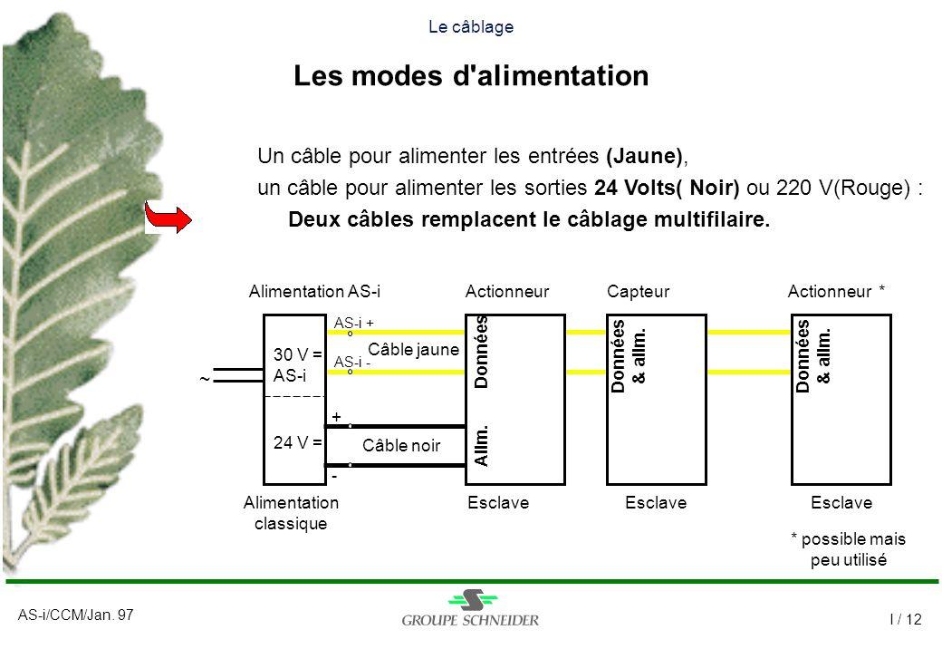 AS-i/CCM/Jan. 97 I / 12 ~ Le câblage Les modes d'alimentation Un câble pour alimenter les entrées (Jaune), un câble pour alimenter les sorties 24 Volt