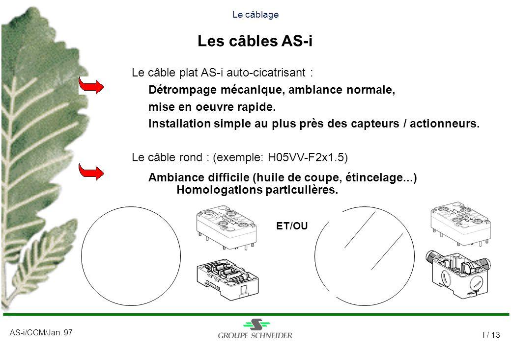 AS-i/CCM/Jan. 97 I / 13 Le câble plat AS-i auto-cicatrisant : Détrompage mécanique, ambiance normale, mise en oeuvre rapide. Installation simple au pl