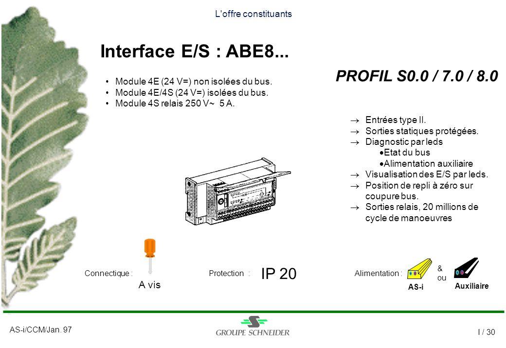 AS-i/CCM/Jan. 97 I / 30 L'offre constituants Interface E/S : ABE8... PROFIL S0.0 / 7.0 / 8.0 AS-i IP 20 A vis Auxiliaire Alimentation :Connectique :Pr