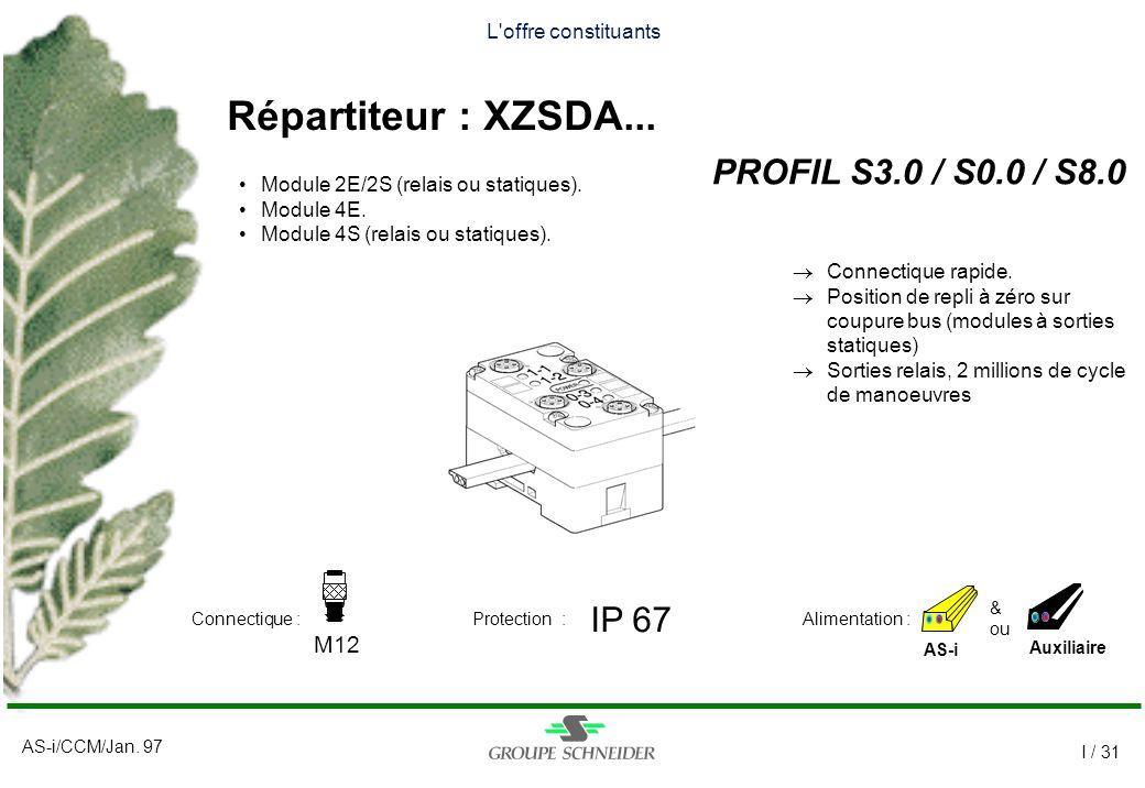 AS-i/CCM/Jan. 97 I / 31 L'offre constituants Répartiteur : XZSDA... PROFIL S3.0 / S0.0 / S8.0 AS-i IP 67 M12 Auxiliaire & ou Alimentation :Connectique