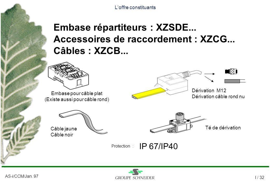 AS-i/CCM/Jan. 97 I / 32 L'offre constituants Embase répartiteurs : XZSDE... Accessoires de raccordement : XZCG... Câbles : XZCB... IP 67/IP40 Protecti