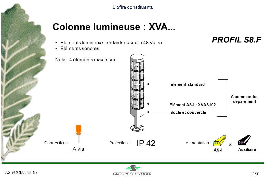 AS-i/CCM/Jan. 97 I / 40 L'offre constituants Colonne lumineuse : XVA... PROFIL S8.F AS-i IP 42 A vis Auxiliaire Alimentation :Connectique :Protection
