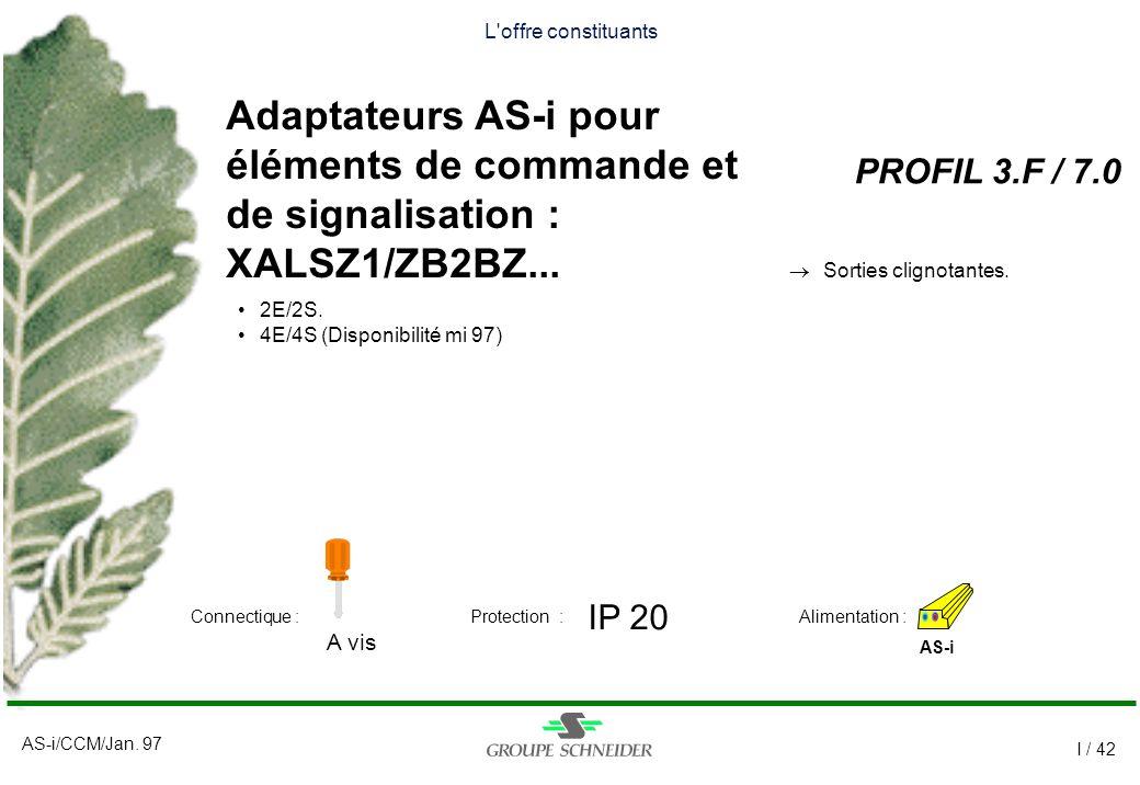 AS-i/CCM/Jan. 97 I / 42 L'offre constituants Adaptateurs AS-i pour éléments de commande et de signalisation : XALSZ1/ZB2BZ... PROFIL 3.F / 7.0 AS-i IP
