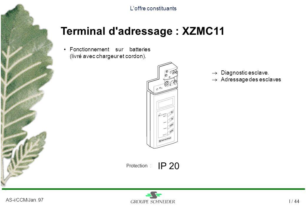 AS-i/CCM/Jan. 97 I / 44 L'offre constituants Terminal d'adressage : XZMC11 IP 20 Protection : Fonctionnement sur batteries (livré avec chargeur et cor