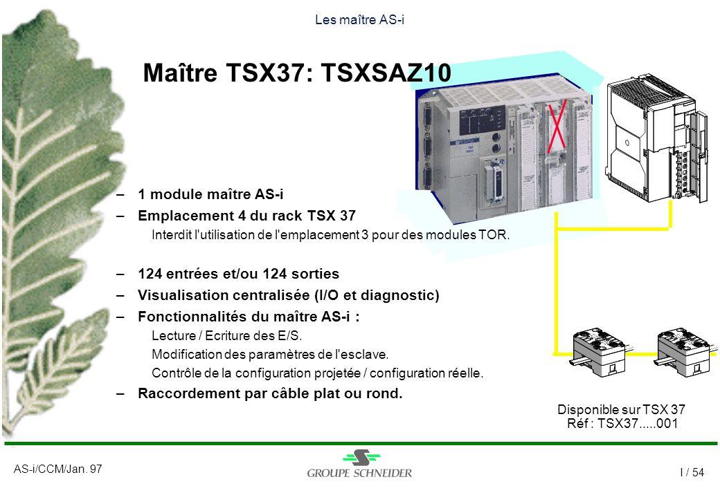 AS-i/CCM/Jan. 97 I / 54 Les maître AS-i Disponible sur TSX 37 Réf : TSX37.....001 –1 module maître AS-i –Emplacement 4 du rack TSX 37 Interdit l'utili