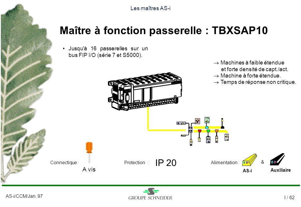 AS-i/CCM/Jan. 97 I / 62 Les maîtres AS-i Maître à fonction passerelle : TBXSAP10 AS-i IP 20 A vis Auxiliaire Alimentation :Connectique :Protection : &