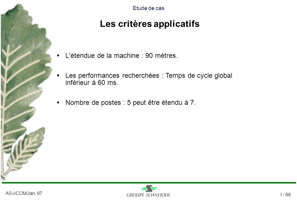 AS-i/CCM/Jan. 97 I / 69 Etude de cas Les critères applicatifs L'étendue de la machine : 90 mètres. Les performances recherchées : Temps de cycle globa