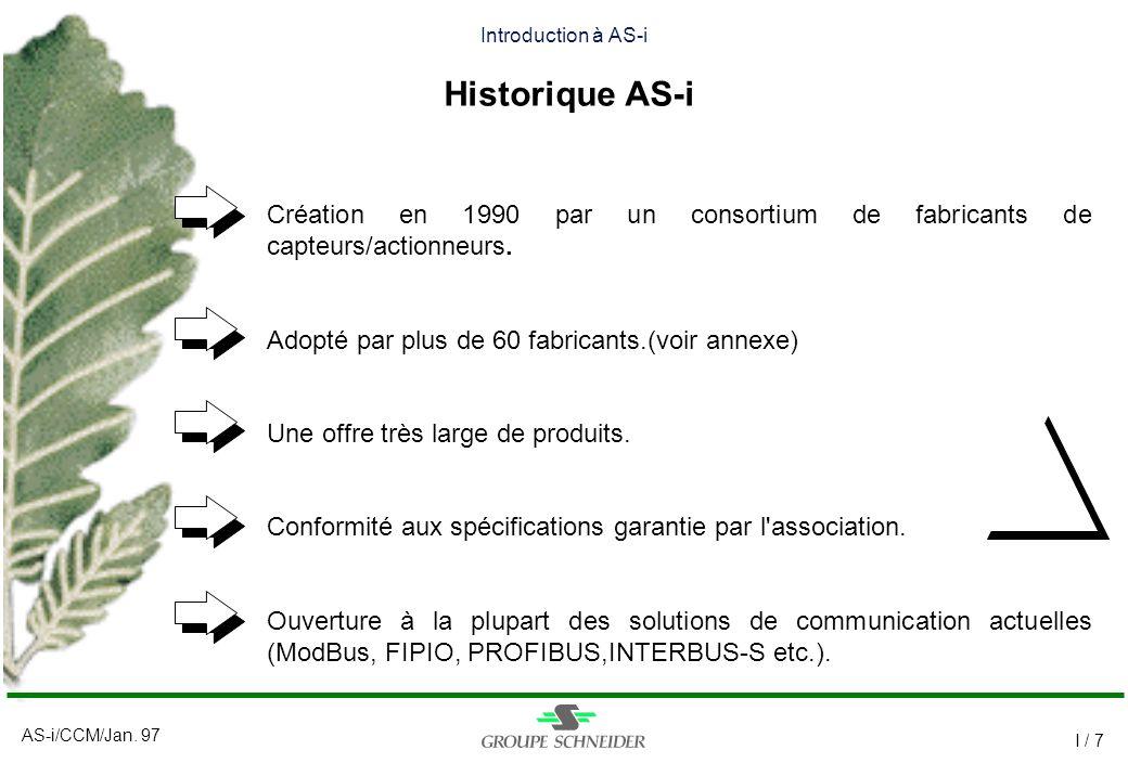 AS-i/CCM/Jan. 97 I / 7 Introduction à AS-i Historique AS-i Création en 1990 par un consortium de fabricants de capteurs/actionneurs. Adopté par plus d