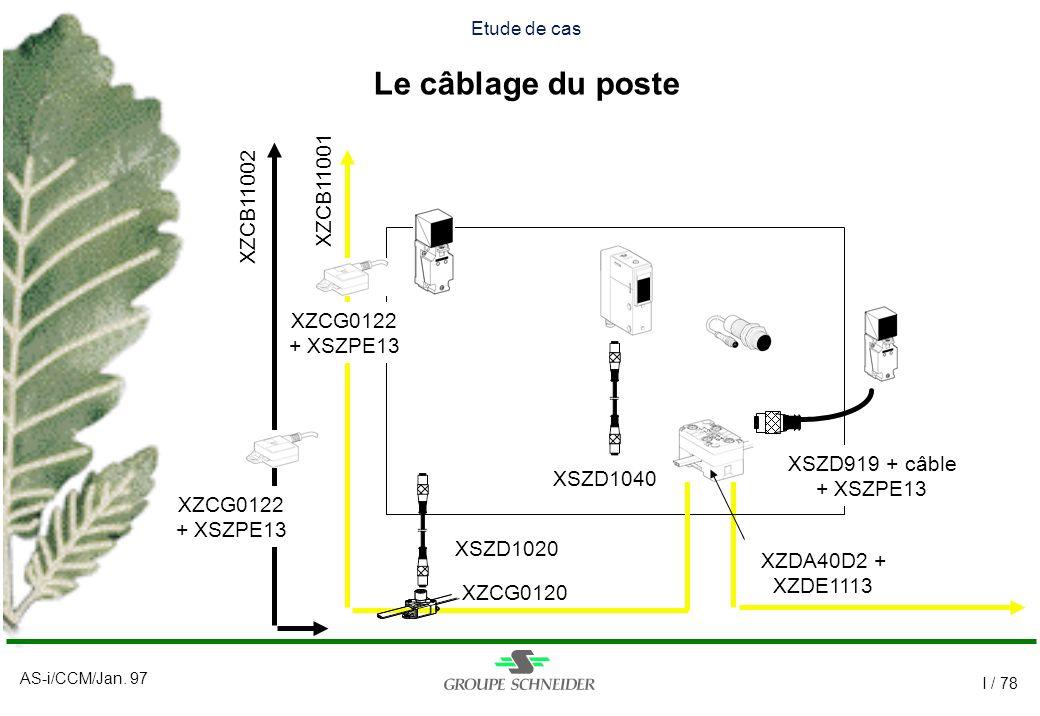AS-i/CCM/Jan. 97 I / 78 Etude de cas Le câblage du poste XZCG0122 + XSZPE13 XZCG0122 + XSZPE13 XZCG0120 XSZD1020 XSZD1040 XSZD919 + câble + XSZPE13 XZ
