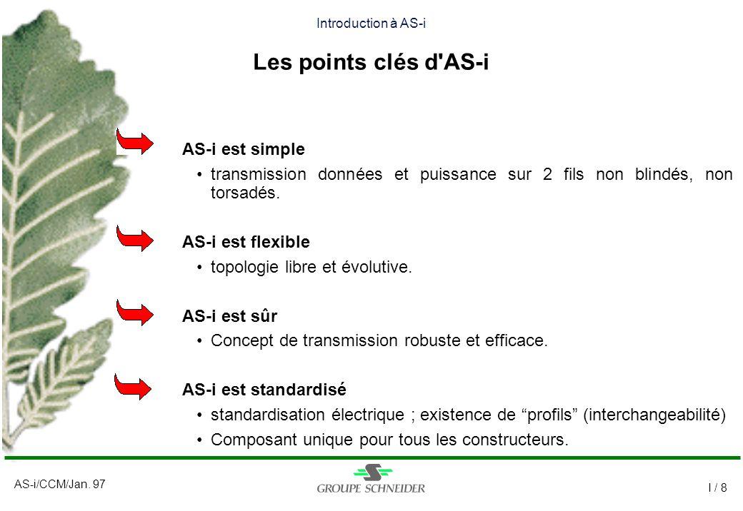 AS-i/CCM/Jan. 97 I / 8 Introduction à AS-i Les points clés d'AS-i AS-i est simple transmission données et puissance sur 2 fils non blindés, non torsad