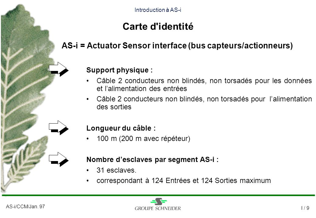 AS-i/CCM/Jan. 97 I / 9 Introduction à AS-i Carte d'identité Support physique : Câble 2 conducteurs non blindés, non torsadés pour les données et lalim