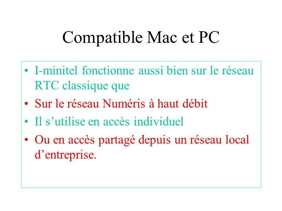 Compatible Mac et PC I-minitel fonctionne aussi bien sur le réseau RTC classique que Sur le réseau Numéris à haut débit Il sutilise en accès individue
