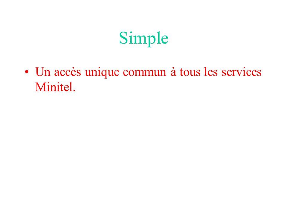 Simple Un accès unique commun à tous les services Minitel.