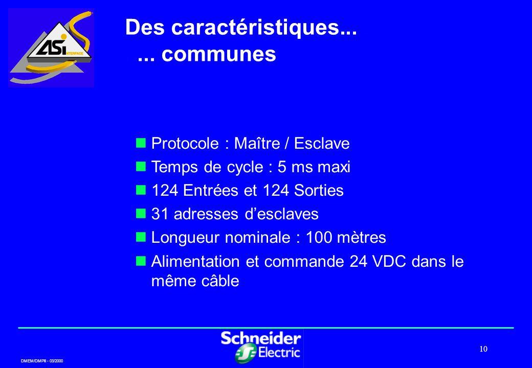DMEM/DMPII - 03/2000 10 Des caractéristiques.......... communes Protocole : Maître / Esclave Temps de cycle : 5 ms maxi 124 Entrées et 124 Sorties 31
